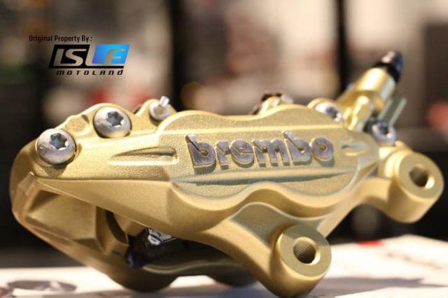 Kaliper Depan Brembo 4 piston 2 pin Gold